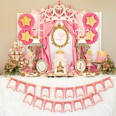Little Princess Party Decor. Princess birthday initial backdrop print by Charming Touch Parties. Pink and gold. Princess Birthday Party Decorations, Princess First Birthday, Birthday Party Desserts, Baby Shower Princess, First Birthday Parties, First Birthdays, Princess Theme, Birthday Table, Birthday Ideas