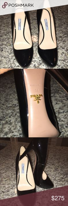 Prada pumps- Black Patent Saffiano Size 39. Never worn! Originally priced $700 Prada Shoes Heels