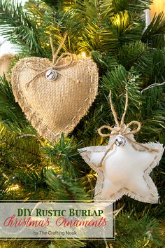 These cute and easy DIY Rustic Burlap Christmas Ornaments will be the perfect touch to your Christmas Tree. Come and check it out!