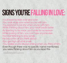 Signs you're falling in LOVE.. :-)