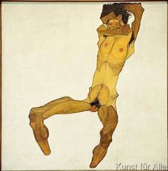 Egon Schiele - Sitzender Männerakt