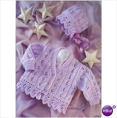 lace baby knit cardigan sweater jacket and bonnet