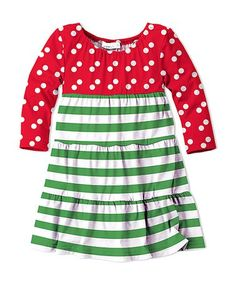 This Red & Green Stripe Empire-Waist Dress - Toddler & Girls is perfect! #zulilyfinds
