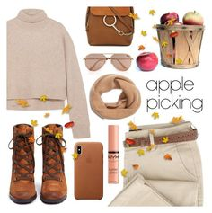 """""""Harvest Time: Apple Picking"""" by pure-vnom ❤ liked on Polyvore featuring Rejina Pyo, Sam Edelman, Chloé, NYX, Quay, Halogen and applepicking"""