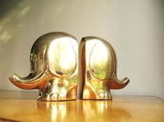 Vintage Brass Elephant Bookends, Elephant Book ends, Gold Mid Century Modern Elephant Figurines on Etsy, $125.00