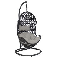Sunnydaze Decor Cordelia Wicker Indoor/Outdoor Hanging Egg Patio Lounge Chair with Stand and Beige Cushions Wicker Porch Swing, Egg Swing Chair, Hanging Egg Chair, Patio Swing, Hammock Chair, Hammock Stand, Diy Chair, Swinging Chair, Hanging Hammock