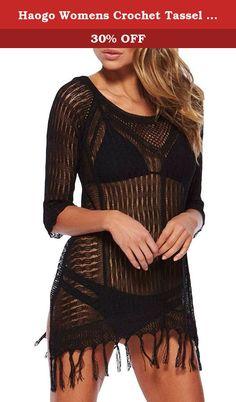 Haogo Womens Crochet Tassel Beach Dress Bikini Swimsuit Cover up Black. Haogo Womens Crochet Tassel Beach Dress Bikini Swimsuit Cover up.
