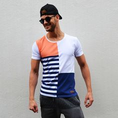T-shirt blocked & striped two | Cap black | Sunglasses clubmaster €23,99 http://mymenfashion.com/t-shirt-blocked-striped-two.html