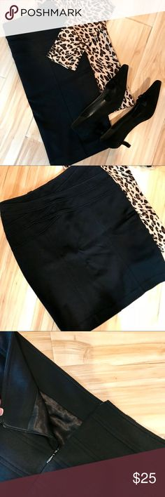 INC International Petite Black Pencil Skirt Effortless and timeless! This skirt will never go out of style. Very comfortable and lots of give. Hidden zipper back , criss cross tummy design- super figure flattering. Lined throughout - all my personal clothing is always dry cleaned! Smoke and pet free - like new. INC International Concepts Skirts Pencil