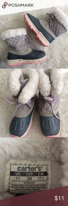 Carter's waterproof winter boots size 11 Carter's Girls Size 11 duck style furry lined quilted winter boots. Some dirt as pictured otherwise good condition! Durable quality gray this season! Carter's Shoes Rain & Snow Boots