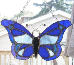 Stained Glass Blue Butterfly Suncatcher by smashingglass on Etsy, $35.00