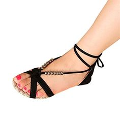 3005e2e794ade Maybest Women Lace Up Sandals Beaded LowHeeled Shoes Summer Beach shoes  Black 6 B M US -