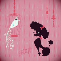 My two favorite things -- poodles and birds.  Vintage inspired Poodle by artist Miss Fluff (Claudette Barjoud)