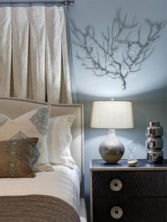 My favorite bedroom wall color + love the contrast of light bed frame and dark nightstands