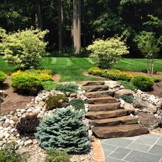 Natural stone steps mixed with boulders leading up from bluestone patio 973-476-4863