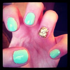 Mint sorbet with golden flake nail polish :)