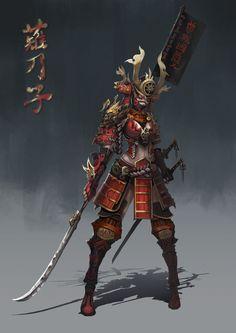 "spassundspiele: ""Samurai – fantasy character concept by Anima 08 "" Female Character Design, Character Design Inspiration, Character Concept, Character Art, Concept Art, Ronin Samurai, Samurai Warrior, Female Samurai Art, Fantasy Characters"