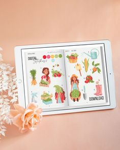 July digital stickers kit ☀ Theme of the month: Organic garden 💕P.S. Download these and 165 more stickers when joining monthly subscription 💕