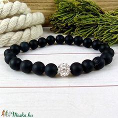 Matt ónix ásvány karkötő fehér csillogó shamballa kristály gömbbel (Arindaekszerek) - Meska.hu Bracelets, Jewelry, Jewlery, Jewerly, Schmuck, Jewels, Jewelery, Bracelet, Fine Jewelry