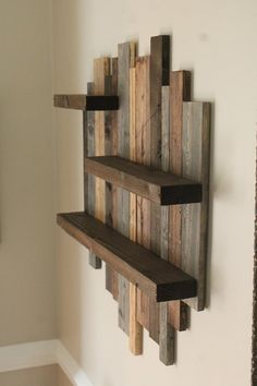 # DIY Home Decor farmhouse style Unique Rustic Wall Shelf, Handmade farmhouse style wall shelf, Vintage housewarming gift wall shelf, Farm style wall shelf, Stained shelf Rustic Wood Shelving, Rustic Walls, Wooden Walls, Rustic Ladder, Rustic Floating Shelves, Floating Cabinets, Wooden Room, How To Make Floating Shelves, Rustic Bedrooms