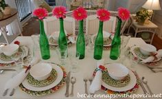 Spring Summer Table Setting Tablescape with Emma's Garland Dishware, Dragonfly Napkin Rings and Gerbera Daisy Centerpiece