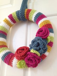 Crochet Wreath with Flowers - Ready to Ship on Etsy, $40.00