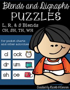 "115 blend and digraph ""puzzles"" in all! Students match the onset blend or digraph to the rime and picture of a word. These are perfect in pocket charts as a literacy center, reading group activity, or as whole group practice!Simple, effective, and interactive!"