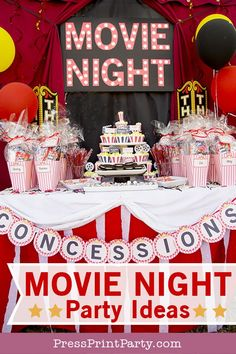 MOVIE NIGHT ideas for a perfect outdoor backyard birthday party. Decorations snacks equipment printables and lots of DIYs. Learn how to make a popcorn pinata popcorn cupcakes and a movie marquee. by Press Print Party! Backyard Movie Party, Backyard Party Decorations, Backyard Birthday Parties, Backyard Movie Nights, Birthday Party Tables, Birthday Party Decorations, Birthday Ideas, 13th Birthday, 21st Party