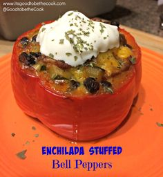 Enchilada Stuffed Peppers - so easy, healthy, and delish!