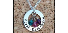 Personalized Hand Stamped Mom Necklace with Childrens Names and Birthstones