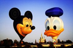 thedisneydestiny:  disneyprince:  Mickey  Donald hot air balloons in the sky above the Magic Kingdom.  That's awesome!