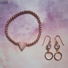 Pack Bracelet V Zirconium Plaqué Or Rose et Boucles d'oreilles Double Cercle Rose