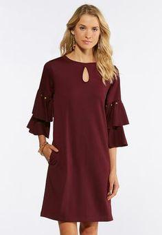 9ce0e184803 Cato Fashions Plus Size Studded Ruffle Sleeve Dress  CatoFashions Cato  Fashion Plus Size
