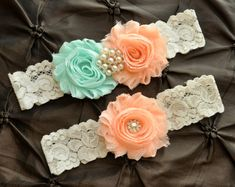 Wedding Garter Belt, Bridal Garter Set - Ivory Lace Garter, Light Peach Wedding Garter, Seafoam Garter, Mint Garter, Peach Garter, POPULAR!