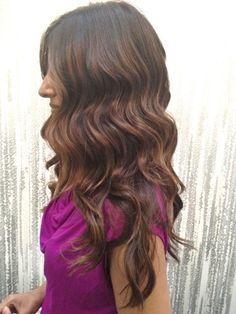 dark brown with golden auburn light brown highlights, subtle