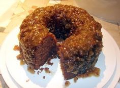 German Chocolate Bundt Cake - this is a box mix with a container of Coconut Pecan icing in the mix and as the glaze! Yum! Really good...tastes like the scratch cake Mom use to make!