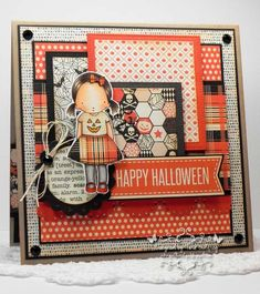 I made this card with the darling Pure Innocence Pretty Pumpkin Stamp set and the MFT Trick OR Sweet Stamp set. I used MFT Replenishments Heavyweight Card Stock in Tangy Orange, Black Licorice and Steel Grey. I also used several MFT Die-namics: Layered Treat Tag, Square Pierced STAX, Square STAX 1 and 2, Blueprints 6 and I used MFT Premium Dye Ink in Tangy Orange and Steel Blue.