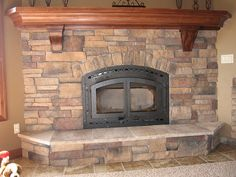 Stone Fireplace Maple Mantle by malcore, via Flickr