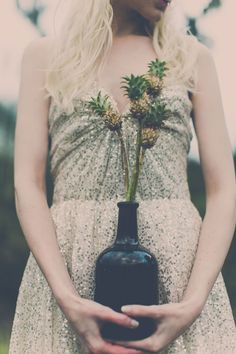 Petite pineapple detailing | Exotic Bohemian Chic Wedding In A Private Prairie Setting | Photograph by Memories n More  http://storyboardwedding.com/exotic-bohemian-chic...