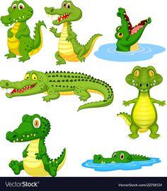 Cartoon green crocodile collection set vector image on VectorStock Animated Cow, Alligator Crafts, Crocodile Cartoon, Anemone Bouquet, Inkscape Tutorials, Pelo Anime, Flannel Board Stories, Cartoon Pics, Drawing For Kids