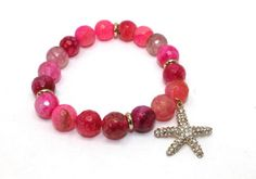 Gorgeous Faceted Pink Agates and Rhinestone Encrusted Starfish Charm Stretch Bangle Bracelet | AyaDesigns - Jewelry on ArtFire