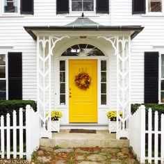 White house with black shutters and a yellow door. White Exterior Houses, House Paint Exterior, Exterior House Colors, Exterior Design, Yellow Front Doors, Front Door Colors, Yellow Houses, White Houses, White Paint House