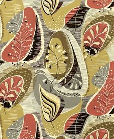 original designs for wallcovering and textiles, via eoh art and design Motifs Textiles, Textile Patterns, Print Patterns, Leaf Patterns, Design Textile, Textile Prints, Fabric Design, Pattern Fabric, Motif Vintage