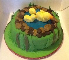Ducks on a pond cake