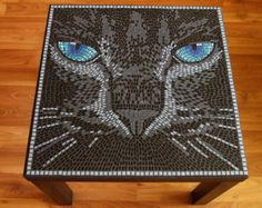 Mosaic Cat Table or Wall Picture by BlueCatMosaic on Etsy