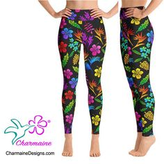 medssii Lady Yoga Pants Pink Tropical Hawaiian Wild Flower Super Soft Yoga Leggings with Pockets