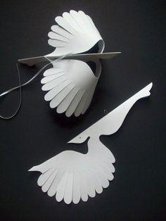 White flying birds 💮 by lorenzkraft papercrafts fun kirigami kirigamis origami origamis art arts artist artistic artwork… Origami Paper Art, 3d Paper, Paper Toys, Paper Drawing, Paper Birds, Paper Flowers, Japanese Paper Art, Papier Diy, Bird Crafts