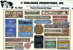Verlinden Productions 1 35 French Commercial Signs Diorama Accessory for sale online French Road Signs, Commercial Signs, Vintage Tin Signs, Making A Model, Model Maker, Wargaming Terrain, Model Train Layouts, Advertising Signs, Paper Models