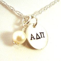 Alpha Delta Pi Necklace with Swarovski Pearl - Official Licensed Product on Etsy, $36.00