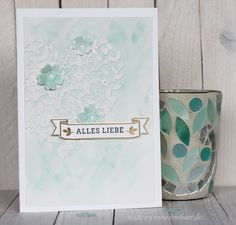 www.conibaer.de - Watercolor card / Aquarellkarte  #bloomingheart #liebesblüten